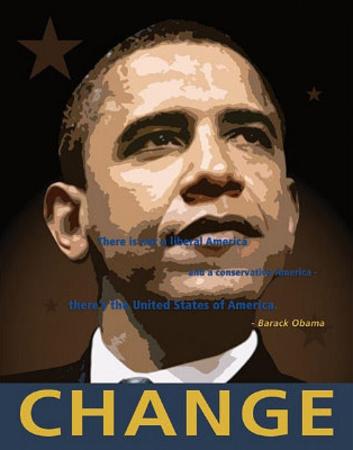 Barack Obama (Change) Art Poster Print Print