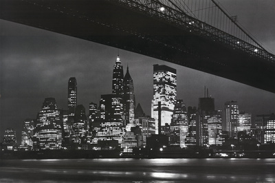 New York City (Brooklyn Bridge & Skyline at Night) Art Poster Print Prints