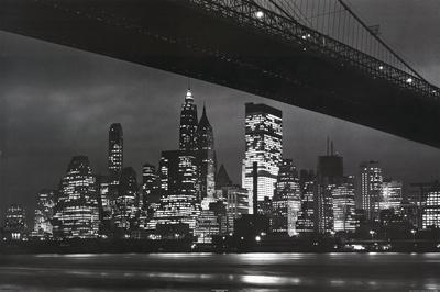 New York City (Brooklyn Bridge & Skyline at Night) Art Poster Print Posters