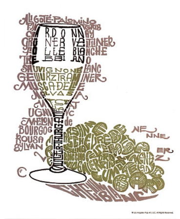 Wine Glass Whites Text Art Print Poster Poster