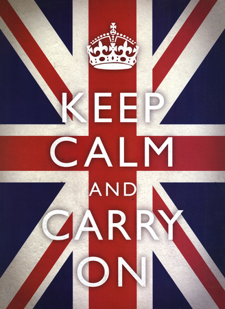 Keep Calm and Carry On (Motivational, Union Jack Flag) Art Poster Print Print