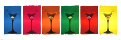 Martini Glasses (Pop Art) Art Poster Print Posters