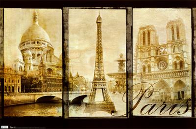 Paris (Triptych, Sacre Couer, Eiffel Tower, Notre Dame) Art Poster Print Affischer