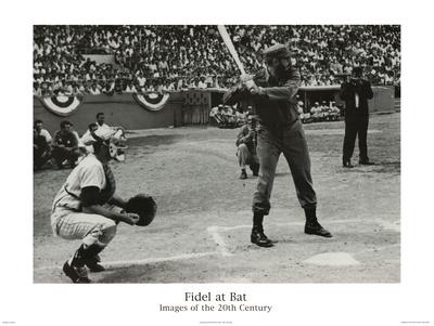 Hulton/Getty (Fidel Castro at Bat) Art Poster Print Prints