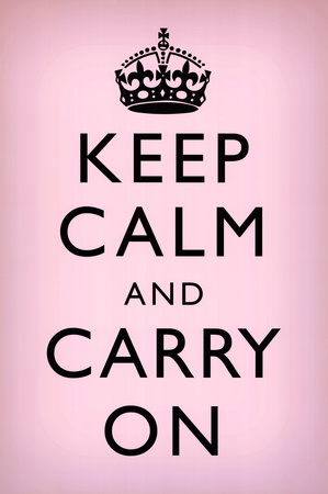 Keep Calm and Carry On (Motivational, Light Pink) Art Poster Print poster
