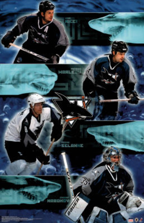 San Jose Sharks Mike Ricci Patrick Marleau Teemu Selanne Evgeni Nabokov Sports Poster Print Posters