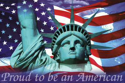 Mitchell Funk Proud To Be an American Statue of Liberty and Flag Art Print Poster Photo