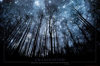 Fantasi - kig på stjerner og hold fødderne på jorden Plakat