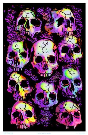 Wall of Skulls Blacklight Art Poster Print Photo