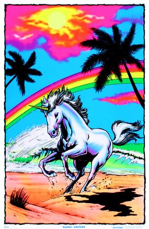 Galloping Unicorn with Rainbow Flocked Blacklight Poster Art Print Prints