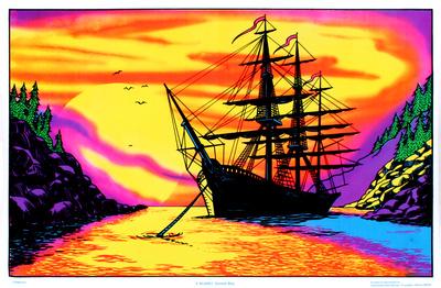 Sunset Bay Ship Flocked Blacklight Poster Art Print Posters