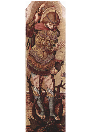 Carlo Crivelli (Altarpolyptychon of St. Peter Martyr, left outer wing scene: Archangel Michael) Prints