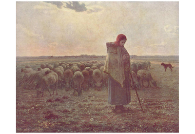 Jean-François Millet (II) (Shepherdess) Art Poster Print Photo