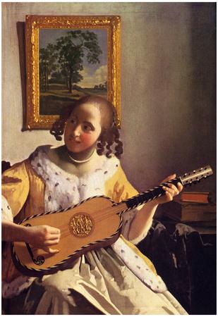 Jan Vermeer van Delft (The guitar player) Art Poster Print Posters