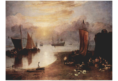 Joseph Mallord William Turner (In the morning mist rising sun, while fishermen clean and sell the c Print
