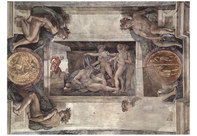 Michelangelo Buonarroti (Ceiling fresco of Creation in the Sistine Chapel, the main scene, shame an Posters