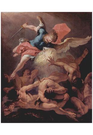 Sebastiano Ricci (Overthrow of the rebellious angels) Art Poster Print Print
