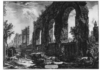 Giovanni Battista Piranesi (Ruins of the aqueduct of Nero) Art Poster Print Prints