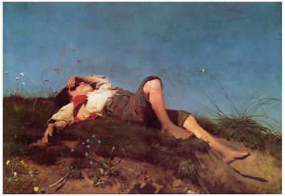Franz von Lenbach (A shepherd boy) Art Poster Print Poster