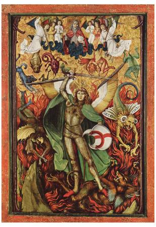 Hans Leu d. Ä. (The hellish fall, Archangel Michael in the battle with Lucifer) Art Poster Print Prints
