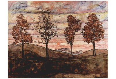 Egon Schiele (Four Trees) Art Poster Print Prints