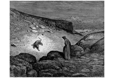 "Gustave Doré (Illustration to Dante's ""Divine Comedy,"" Inferno - Dante and Leopard) Art Poster Prin Posters"