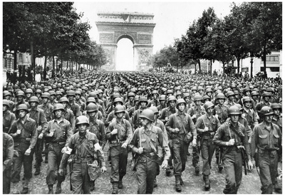 American Soldiers in Paris WWII Archival Photo Poster Print Poster