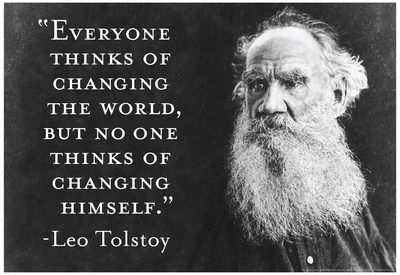 Every Thinks Of Changing World Not Himself Tolstoy Quote Poster Prints by  Ephemera