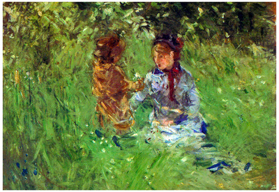 Berthe Morisot Woman and Child in Garden in Bougival Impressionist Art Print Poster Print