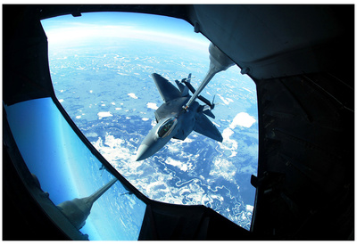 F-22 Raptor (Refueling, from Above) Art Poster Print Posters