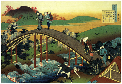 Katsushika Hokusai Travelers on the Bridge Near the Waterfall of Ono Art Poster Print Prints