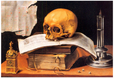 Sebastian Stoskopff Still Life with a Skull and an Almanac Art Print Poster Print
