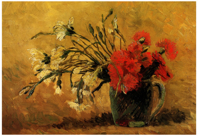 Vincent Van Gogh Vase with Red and White Carnations on Yellow Background Art Print Poster Poster
