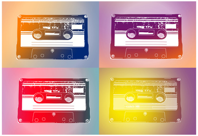 Audio Cassette Tapes Flash Pop Art Print Poster Posters