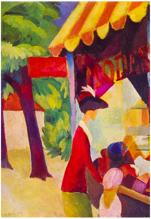 August Macke Before Hutladen (woman with a red jacket and child) Art Print Poster Posters