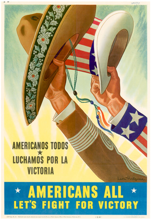Americans All Americanos Todos Let's Fight For Victory WWII War Propaganda Art Print Poster Billeder
