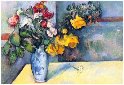 Paul Cezanne Still Life Flowers in a Vase Art Print Poster Prints