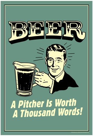 Beer Pitcher Worth A Thousand Words Funny Retro Poster Prints