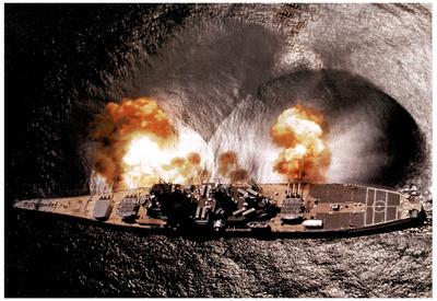 USS Iowa Battleship Firing Guns Art Print POSTER NAVY Prints