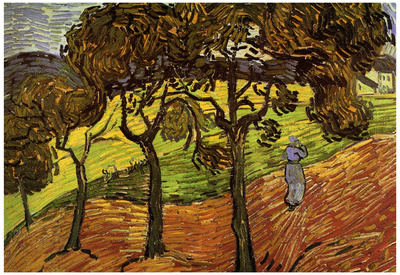 Vincent Van Gogh Landscape with Trees and Figures Art Print Poster Posters