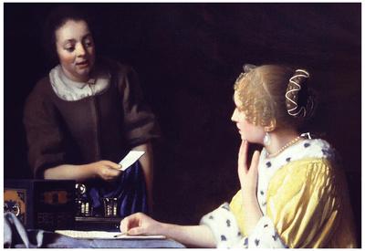 Johannes Vermeer Lady Maidservant Holding Letter Art Print Poster Posters