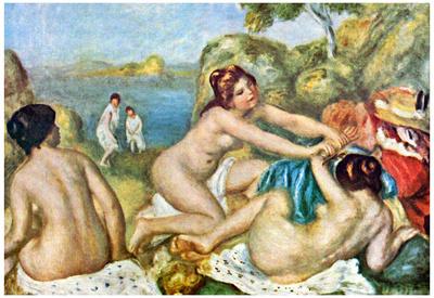 Pierre Auguste Renoir Three Bathing Girls with Crab Art Print Poster Photo