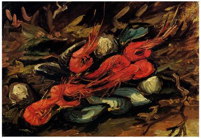 Vincent Van Gogh Still Life with Mussels and Shrimps Art Print Poster Print