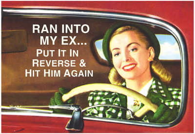 Ran Into My Ex Put it in Reverse and Hit Him Again Funny Poster Print Posters