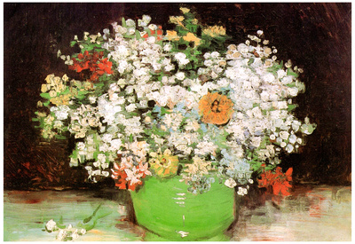 Vincent Van Gogh Vase with Zinnias and Other Flowers Art Print Poster Print