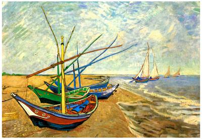 Vincent Van Gogh (Fishing boats on the beach at Saintes-Maries) Art Poster Print Posters