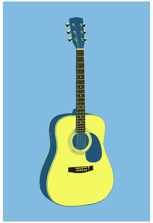 Acoustic Guitar Blue Music Poster Print Posters