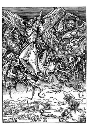 "Albrecht Durer (Illustration for ""Apocalypse,"" Scene: Michael's battle with the dragon) Art Poster Posters"