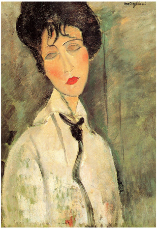 Amadeo Modigliani Portrait of a Woman with a Black Tie Art Print Poster Prints