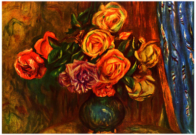 Pierre Auguste Renoir Still Life Roses Before a Blue Curtain Art Print Poster Prints